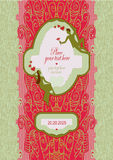 Vykortet för att gifta sig med snör åt och förlägger för text Ämne av mötet och gåvafavoriten Royaltyfri Foto