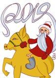 Vykortjultomten och svin 2019, lyckligt nytt år, illustration som isoleras royaltyfri illustrationer