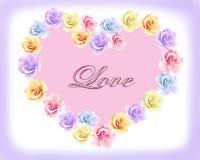 Vykortvalentin i formen av en hjärta av rosor royaltyfri illustrationer