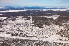 Vyngapurovsky är byn för oilman` s i västra Sibirien, sikt för öga för fågel` s Royaltyfria Foton