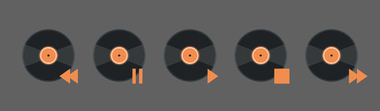 Vynil Disk Music Player Volume Icon Set Audio Listening App Interface Button Stock Photography