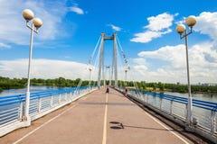 Vynogradovskiy Bridge in Krasnoyarsk. Vynogradovskiy Bridge is a cable-stayed bridge over the canal of the Yenisei, leads to Tatyshev island in Krasnoyarsk Royalty Free Stock Photo