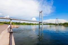 Vynogradovskiy Bridge in Krasnoyarsk. Vynogradovskiy Bridge is a cable-stayed bridge over the canal of the Yenisei, leads to Tatyshev island in Krasnoyarsk Stock Photography