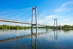 Vynogradovskiy Bridge in Krasnoyarsk. Vynogradovskiy Bridge is a cable-stayed bridge over the canal of the Yenisei, leads to Tatyshev island in Krasnoyarsk Stock Photos