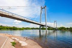 Vynogradovskiy Bridge in Krasnoyarsk. Vynogradovskiy Bridge is a cable-stayed bridge over the canal of the Yenisei, leads to Tatyshev island in Krasnoyarsk Stock Photo