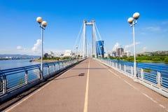 Vynogradovskiy Bridge in Krasnoyarsk. Vynogradovskiy Bridge is a cable-stayed bridge over the canal of the Yenisei, leads to Tatyshev island in Krasnoyarsk Royalty Free Stock Image