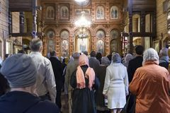Church divine service in honor of the Kazan icon of the Mother of God. Vyritsa, RUSSIA-April 27, 2019. Church divine service in honor of the Kazan icon of the stock photo
