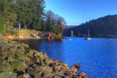 vyrnwy boathouse jezioro Obraz Royalty Free