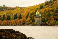 Vyrnwy lake straining tower in autumn Stock Images