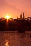 Vysehrad bij zonsopgang Stock Fotografie
