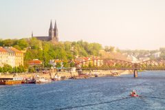 Vysehrad and Railroad Bridge over Vltava on sunny summer evening with sunset. Prague cityscape, Czech Republic.  Stock Image