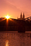 Vysehrad at sunrise. Vysehrad and railroad bridge silhouette at sunrise in Prague Stock Photography