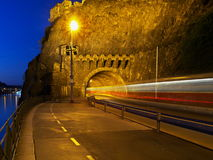 Vysehrad Tunnel, Prague. A tram swishing through Vysehrad Tunnel in Prague Royalty Free Stock Photography