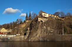 Vysehrad Vista da catedral de Saint Peter e Paul e o túnel praga República checa Fotografia de Stock Royalty Free