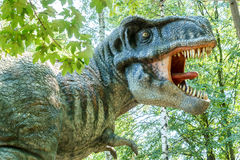 Vyskov, Czech Republic - 19.8. 2012 -  tourist attraction - realistic model of big tyranosaurus rex in jungle Royalty Free Stock Images