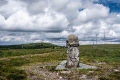 Vysoka孔, Petrovy kameny和在Jeseniky山的Praded小山在捷克共和国 库存图片