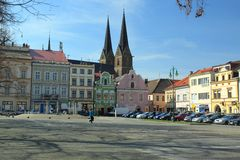 Vysoke Myto. The view of saint Lawrence church from the main square in Vysoke Myto, Czech Republic Stock Image