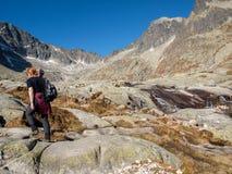 Valley of Five Spis Lakes. High Tatra Mountains, Slovakia. Vysoke Tatry, Slovakia - October 11, 2018: Valley of Five Spis Lakes. High Tatra Mountains, Slovakia stock image