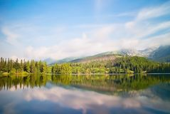 Vysoke Tatry, Strbske Pleso, Slovakia - mirroring trees on the water surface with a diving platform. Beautiful Slovakia. A long ti stock photography