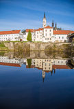 Vyssi Brod abbey Czech Republic over the pond spring Royalty Free Stock Photos