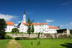 Vyssi Brod cistercian gothic monastery. Cistercian monastery in South Bohemia in the Czech Republic. It lies at the Vltava river Royalty Free Stock Photo