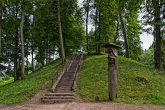 Vytautas hill, Birstonas Lithuania. Summer landscape. Vytautas hill is one the highest the height of slopes is up to 40m and best known mounds in Lithuania Royalty Free Stock Photography