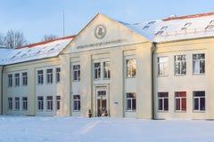 Vytautas Magnus University, construção da academia de música, Kaunas, Lituânia fotografia de stock royalty free