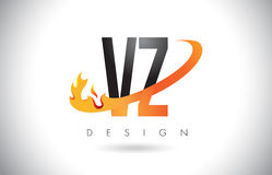 VZ V Z Letter Logo with Fire Flames Design and Orange Swoosh. VZ V Z Letter Logo Design with Fire Flames and Orange Swoosh Vector Illustration Royalty Free Stock Photography
