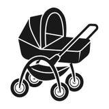 Wózek spacerowy z koszykową ikoną, prosty styl ilustracji