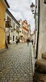 Wąscy ulicy i renaissance budynki w nietknięty średniowiecznym w Cesky Krumlov zdjęcia royalty free