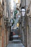 Wąska ulica Dubrovnik stary grodzki Chorwacja fotografia stock