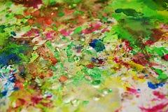 Wächsernes grün-blaues orange Silber spritzt, abstrakter kreativer Hintergrund der Farbe Stockfotografie