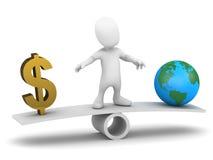 wägt kleiner Mann 3d Geld gegen die Erde ab vektor abbildung