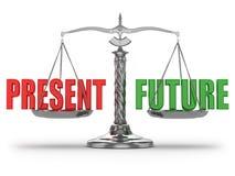 Wählen des Geschenkes oder der Zukunft. Skalen Stockbilder