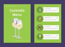 Wählen Sie Auffrischungsalkohol-Getränkebar-Karten-Vektor stock abbildung