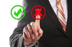 Wählen Sie den falschen Knopf vor Lizenzfreies Stockbild