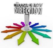 Wählen Sie eine neue Richtungs-Pfeile viele Wahl-Wege vorwärts Stockbild