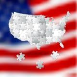 Wählen Sie für Amerika, der Wahlhintergrund, der vom weißen Puzzlespiel gemacht wird Stockfotografie