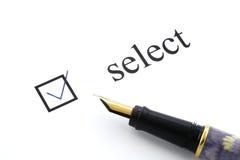 Wählen Sie Kasten tickte aus Lizenzfreie Stockfotos