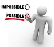Wählen Sie mögliches gegen unmöglichen positive Haltungs-Touch Screen Stockfotos