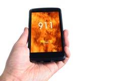 Wählendes Konzept 911 am Handy Stockbild