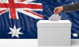 Wähler auf einem Australien-Flaggenhintergrund Abbildung 3D Stockfotografie