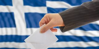 Wähler auf Griechenland-Flaggenhintergrund Abbildung 3D Lizenzfreies Stockbild
