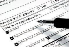 Wählerregistrierung Stockbild