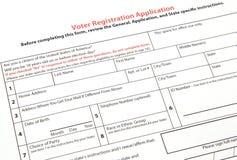 Wählerregistrierungformular Stockbild