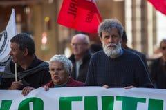 Während der Feier von Maifeiertag im Stadtzentrum Allgemeines Bündnis von portugiesischen Arbeitskräften Stockfoto