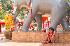 Während des Feier Chinesischen Neujahrsfests im chinesischen Tempel Stockbilder