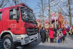 Während des Frühlingsfests in China, eine Bereitschaft in den Konfuzius-Tempelquadratfeuerspritzen Stockbild