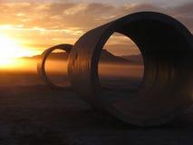 Während Sonnenwende an den Sun-Tunnels Stockfotografie