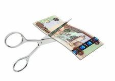 Währung der Emirat-3D mit Scheren stock abbildung